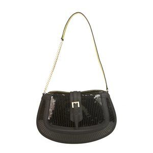 Tod's Black Fully Sequined Half Chain Bag